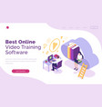 online video training software isometric landing vector image vector image