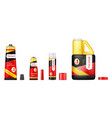 realistic set of glue tubes with open lids vector image vector image