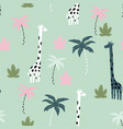 seamless pattern giraffe vector image