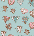 Seamless pattern with hearts Blue pink brown vector image vector image