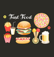 set lovely fast food food isolated vector image vector image