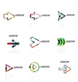 Set of linear arrow abstract logos connected vector image vector image