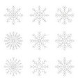 set of monochrome icons with snowflakes vector image