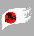 the contour of the cyclist on the flag of japan vector image