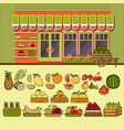 fruit shop facade and set of cute colorful food vector image