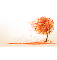 Autumn background with a tree and golden leaves vector image