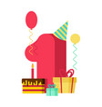 1 year happy birthday greeting card 1th