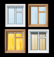 a set of cartoon colored image of window and vector image