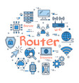 blue round router concept vector image vector image