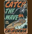 california surfing vintage colorful poster vector image