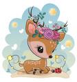 cartoon baby deer with flowers on meadow