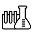 Chemistry tubes line icon flask with ampoule