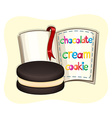 Chocolate cream cookie and a book vector image vector image