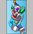 colorful evil clown with candy in his hands vector image vector image