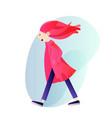 creative girl in a coat walking alone vector image vector image