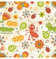 Cute bugs colorful seamless pattern vector image vector image