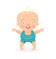 cute cartoon happy baby boy trying to walk vector image vector image