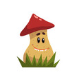 cute funny boletus mushroom character with red cap vector image vector image