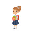 cute girl with backpack holding books pupil in vector image