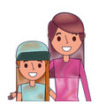 cute mom embracing her teen daughter vector image vector image