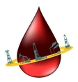 Drop of oil and the silhouettes of oil industry vector image