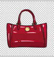 fashionable glossy red bag isolated vector image vector image