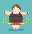 fat woman with hula hoop twirling idea concept vector image