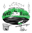 fishing set of Camping motorhome in the forest on vector image vector image
