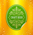 Green beer label with flourishes emblem vector image vector image