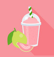 guava smoothie in plastic glass vector image vector image