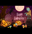 halloween horror zombie and pumpkins at cemetery vector image vector image