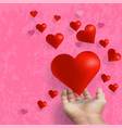 hand stretch out and giving red heart floating on vector image vector image