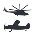 helicopter and plane black silhouettes on white vector image vector image