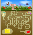 help the mouse to find the cheese vector image