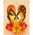 hibiscus flowers and flip flops vector image vector image