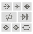 icons with elements of electronic board vector image vector image