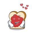 in love bread with jam mascot cartoon vector image vector image