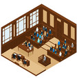 isometric judicial session room template vector image vector image