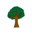 kawaii tree natural foliage branch fruits cartoon vector image