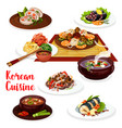 korean meat vegetable and fish dishes vector image vector image