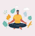 meditating man in yoga pose on white background vector image