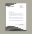 modern letterhead design with black wave vector image vector image