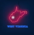 neon map state of west virginia on dark background vector image vector image