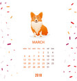 new year calendar 2018 with a dog in flat style vector image vector image