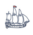 old wooden ship with red flag outline vector image vector image