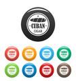 original cuban cigar icons set color vector image vector image