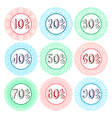 Set of nine hand drawn sale icons vector image