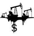 silhouette pumpjack and oil with the dollar vector image