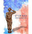 soldier saluting on fourth of july background for vector image vector image