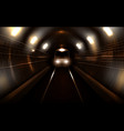 subway train in metro tunnel front view locomotive vector image